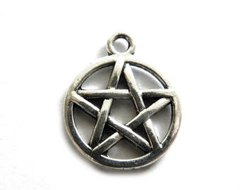 10 Silver Pentacle Charms - 20mm