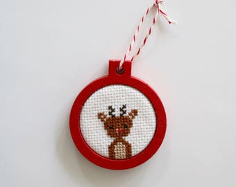Santa's Rudolph reindeer cameo cross stitch Christmas tree ornament by Canadian Stitchery