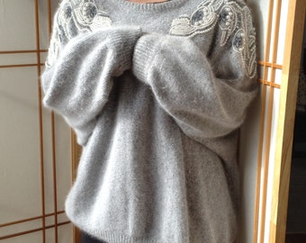 Silk Angora Sweater Vintage 80's Applique Embellishment Angora Silk Sweater Vintage 1980's Sweater made by Roberta di Castelli SOFT Sweater