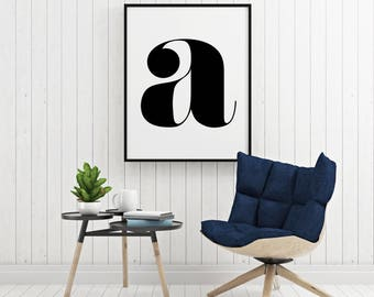 Digital Wall Art, Art Prints, Letter Print, Monogram Poster, Typography Art, Nursery Wall Art, Printable letters, Instant Download Art