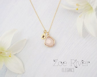 Blush pink and gold necklace. Personalized gold initial necklace. Light pale pink necklace.
