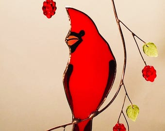 Large front view Cardinal with Berries stained glass suncatcher