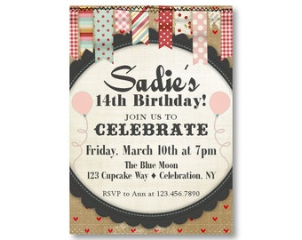 Girls 13th Birthday Party Invitations Teenage Girl