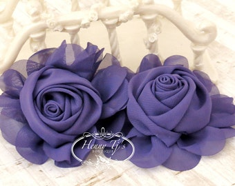 "New: Gladys Collections - PURPLE 3.75"" Chiffon Silk Rolled Rosette Rose Fabric Flowers. Wedding Supplies. Hair Applique. Headband FlowerS"
