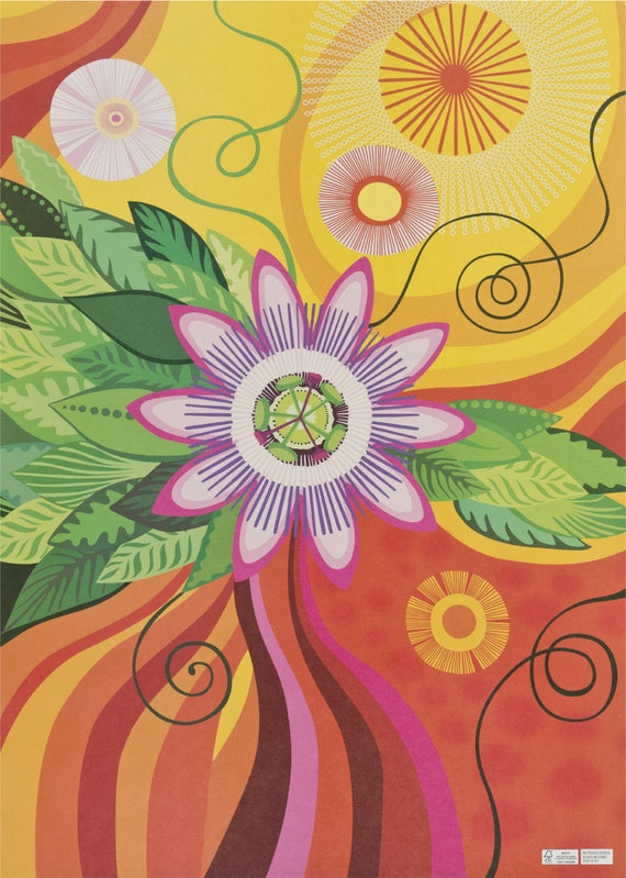 PASSIFLORA. Floral wrapping paper. Flowers art print. Vibrant colors. Passiflora. Creative packaging. For art lovers. For flower lovers.