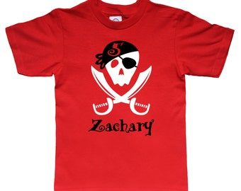 Pirate Shirt - Pirate Skull Shirt - Personalized Birthday Shirt - any age and name - pick your colors!