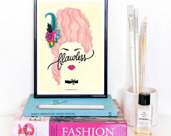 Flawless Marie Antoinette Poster, Calligraphy Print, Minimalist Illustration, Girlboss Poster, Girl Power Art Print, Queen B Gift for Her
