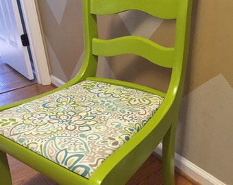Antique Wooden Chair   Painted And Reupholstered Chartreuse Yellow Green