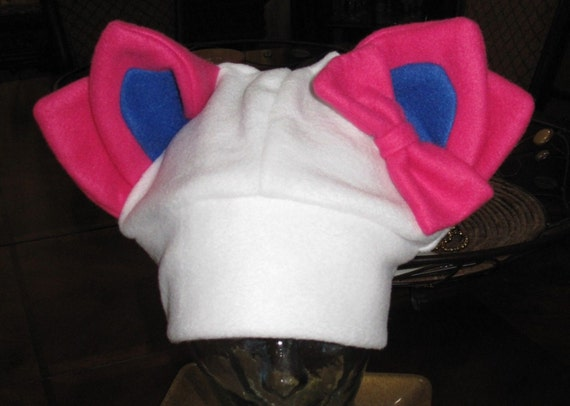 Cosplay Sylveon winter  fleece ear hat in 6 sizes