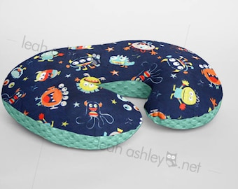 Boppy® Cover, Nursing Pillow Cover - Navy Monsters MINKY with Mint MINKY Dot OR Choose Your Minky Dot Color - BC3