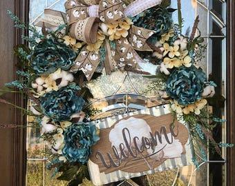 Welcome Wreath, Cotton Wreath, Grapevine Wreath