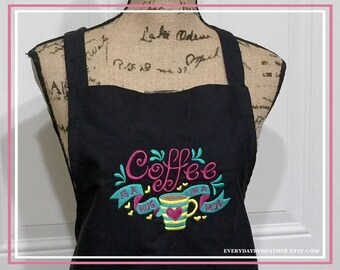 Embroidered Black Apron - Coffee Is A Hug In A Mug Apron - Personalized Apron
