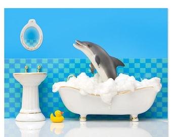 35% OFF SALE Bathroom decor animal art print with dolphin: Splashdown