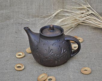 Hand Made Clay Teapot Pottery Home Decor Unique Gift Kettle for Tea Tea Ceremony Tea Clay Handmade Teapot