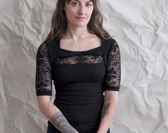 Summer sweater, lace half sleeve top--stretchy and lightweight. Dressy black sweater with crochet sleeves in floral pattern. Made to order.