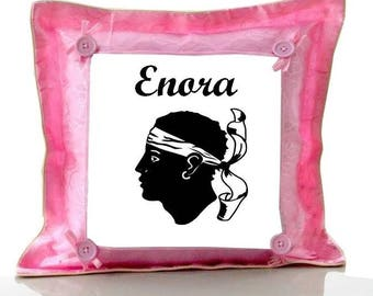 Pink cushion Corsica personalized with name