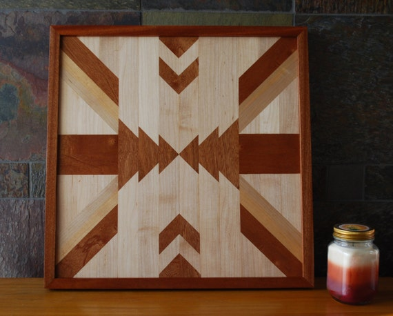 Exceptional Native American Geometric Design Wood Wall Art Navajo Tribal