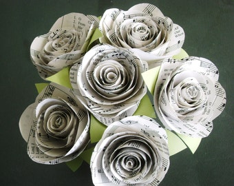 """The Stephanie Jr hymnal sheet music bouquet with 3"""" spiral cabbage roses and leaves"""