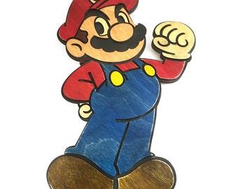 Wooden Mario Bros Wall Art