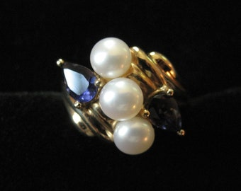 10K Genuine Pearl and Iolite Ring, Size 5.5