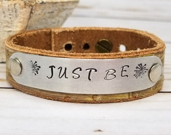Leather Bohemian Bracelet - Hand Stamped Cuff Bracelet - Leather Cuff Bracelet - Inspirational Jewelry - Gift For Women - Boho Jewelry