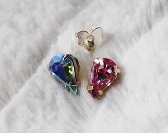 Swarovski Crystal Earrings - Tear Drop Crystal Studs / silver & gold