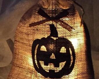JACK o LANTERN - Decorative Lighted Jute Burlap Bag with Drawstring - Designs in black - AC or Battery Light String