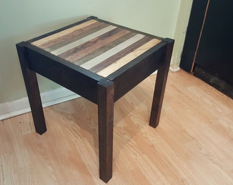Rustic Wood End Table With Locking Concealed Compartment Magnetic Lock