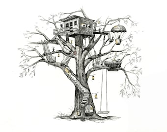 """Single Note Card - """"Maggie's Tree House"""" - 5"""" x 8 1/2"""""""