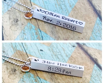 Birth announcment necklace   Pendant bar personalized name and date pendant necklace with Swarovski Birthstones - Mothers necklace - family