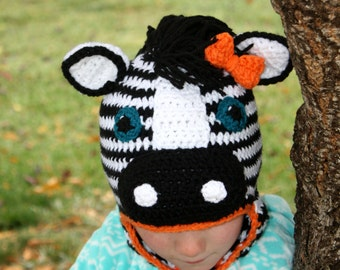 Zebra Hat pdf PATTERN (digital download), crochet, newborn - adult sizes, photo prop, animal hat pattern, earflap hat