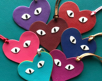 NEW! Leather Double-Sided Hearts with Eyes Bagcharms