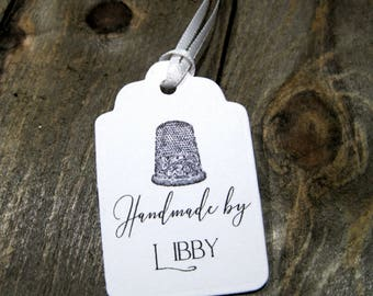 Handmade by Tags -  Set of 20 - Personalized - Store tags - Hand sewn by - Sew - Quilts by - Thimble - Handmade by - Hang tags - Quilted by