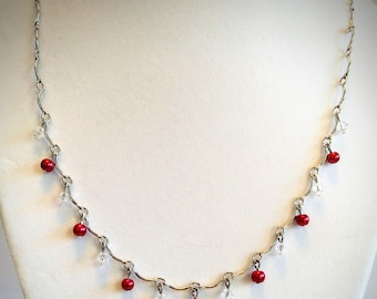 "18"" silver tone red & clear beaded necklace"