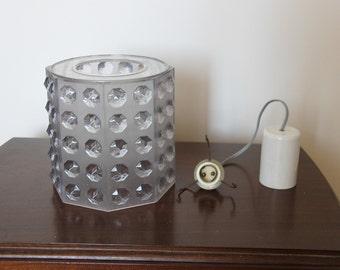 Lampe Lustre suspension abat-jour plafond diamants plexiglas octogonal / luminaire 70 space age / lampe facettes France /Holy10