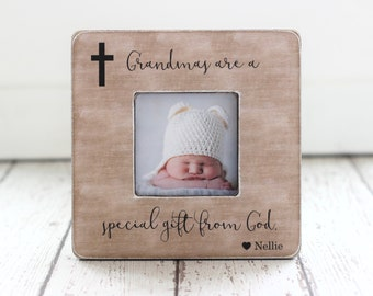 Mother's Day Grandma Grandmother Gift Religious Special Gift From God Personalized Picture Frame Cross