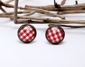 Earrings Cabochon Plaid Red Rockabilly