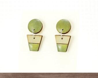 Small stud dangle earrings, Olive green earrings, Simple earrings, Titanium earrings, Small drop earrings, Wooden dangles, Resin earrings