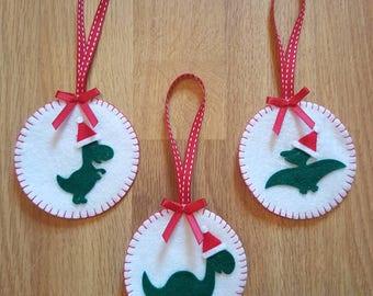 Felt dinosaur Christmas decorations, dinosaur Christmas ornaments, felt dinosaur, dinosaur Christmas, alternative Christmas decorations
