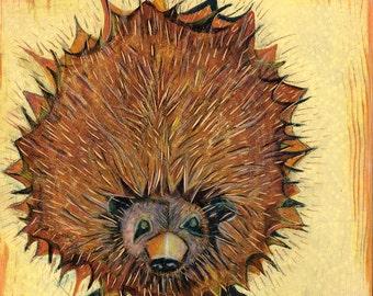 Hedgehog--original painting on wood