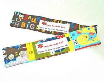 Toddler Medical Alert Bracelets Safety ID for Children - Dinos - Set of Two