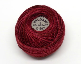 Valdani Pearl Cotton Thread Size 8 Variegated: #O507 Rich Wine