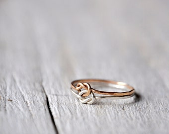 Chained Love Knots Ring Sterling Silver and Copper, Love or Friendship BFF