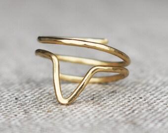 Brass Chevron Ring, Wire Jewelry