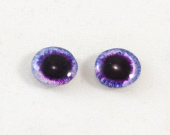 10mm Light Purple and Black Fantasy Glass Eye Cabochons - Evil Eyes for Doll or Jewelry Making - Set of 2