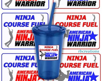 Ninja Warrior Party, Ninja Warrior Stickers, ANW Birthday Party, Ninja Warrior Stickers - Customize digital printables