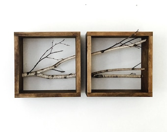 white birch forest wall art/shelf -set of 2 (horizontal), birch branch, framed birch art, floating shelves, display shelves, shadow box