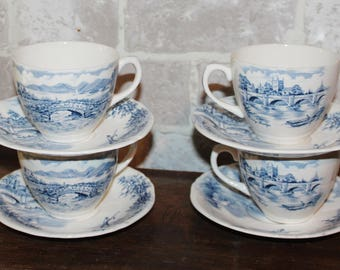 Cup and saucer set of 4 blue transferware English Bridges by Alfred Meakin Staffordshire, scenic dinnerware, blue dishes, , cottage decor