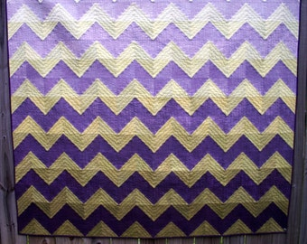 Chevron Art Quilt Wall Hanging Quilted Green Purple Hand Dyed Fabric Gradated Quiltsy Handmade FREE U.S. Shipping