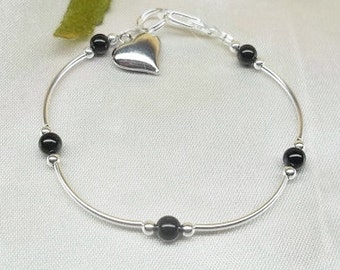 Black Onyx Bracelet Silver Heart Bracelet Black Bracelet Mother's Day Gift For Mom Gemstone Bracelet Sterling Silver or Plated BuyAny3+1Free